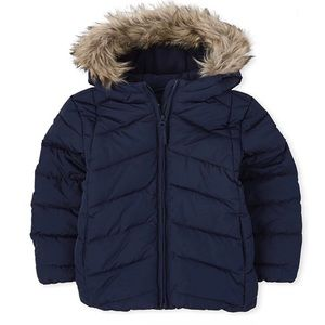 NWT • Children's Place Faux Fur Hood Puffer Jacket